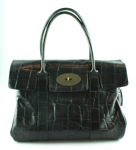 Mulberry Embossed Croc Bayswater Black Old Model