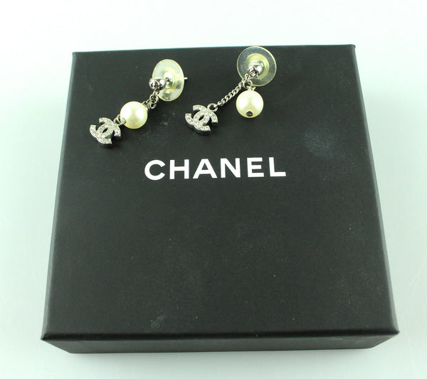 Chanel Classic CC And Costume Pearl Strass Silvertone Dangle Earrings
