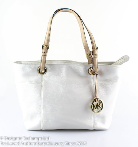 Michael Kors Soft White Grained Leather Jet Set Tote
