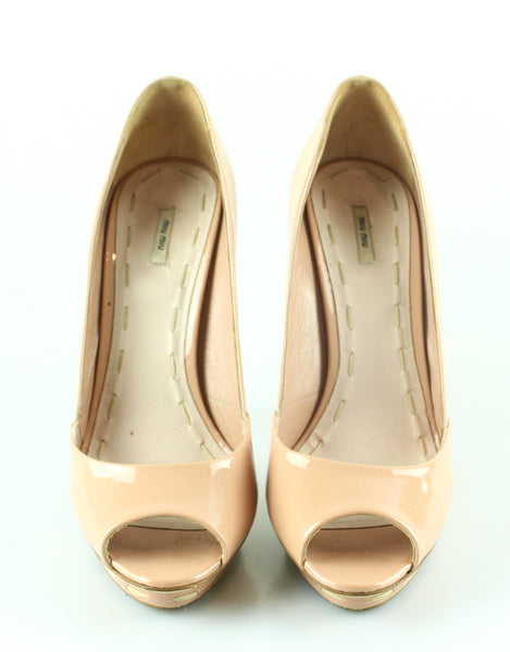 Miu Miu Dusty Pink Patent peep Toes Shoes 39/6 RRP €450
