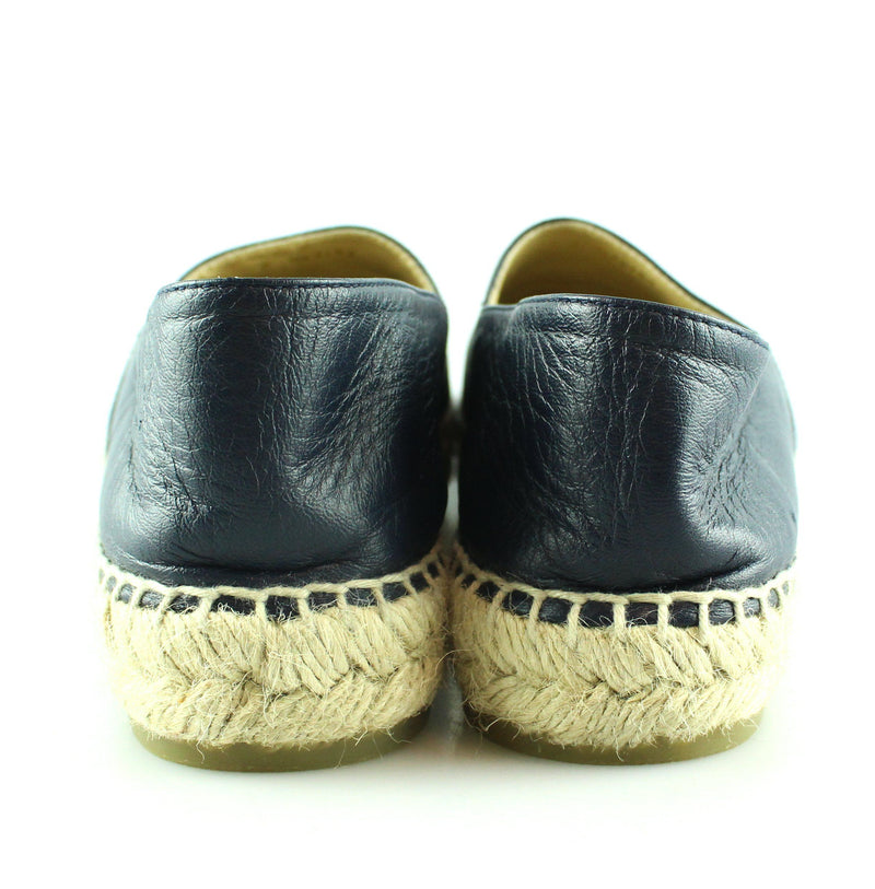 Chanel Two Tone Black/Navy Lambskin Espadrilles 39/6