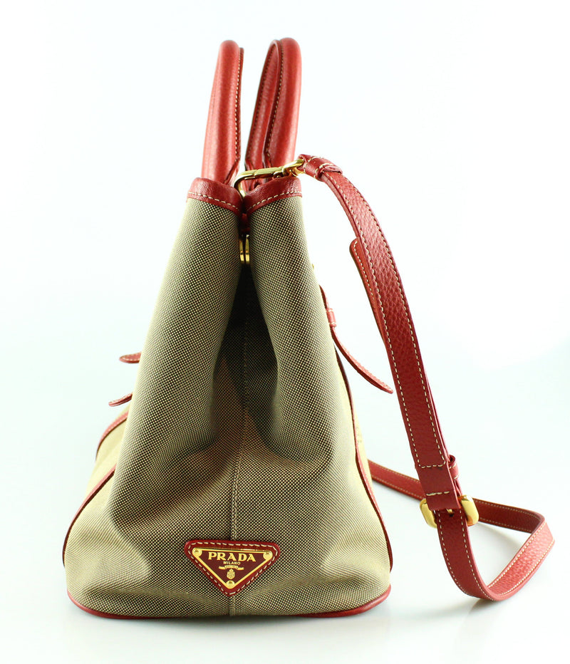 Prada Canvas Logo Bow Small Shopper With Red Trim And Long Strap