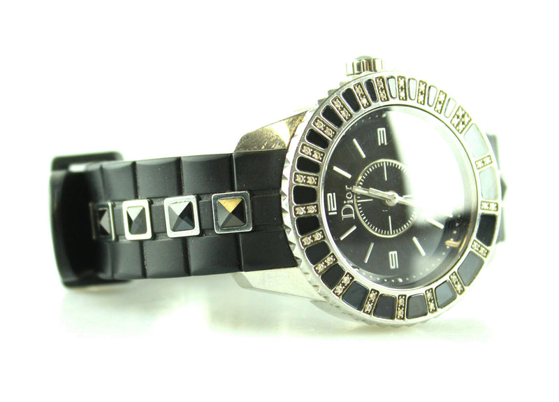 Christian Dior Christal 33mm Black Steel With Diamonds Arabic Dial