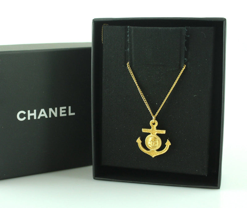 Chanel 2018 Anchor Pendant Goldtone Necklace