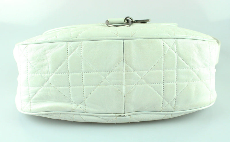 Christian Dior Vintage Cannage Flap Hobo Soft White Leather
