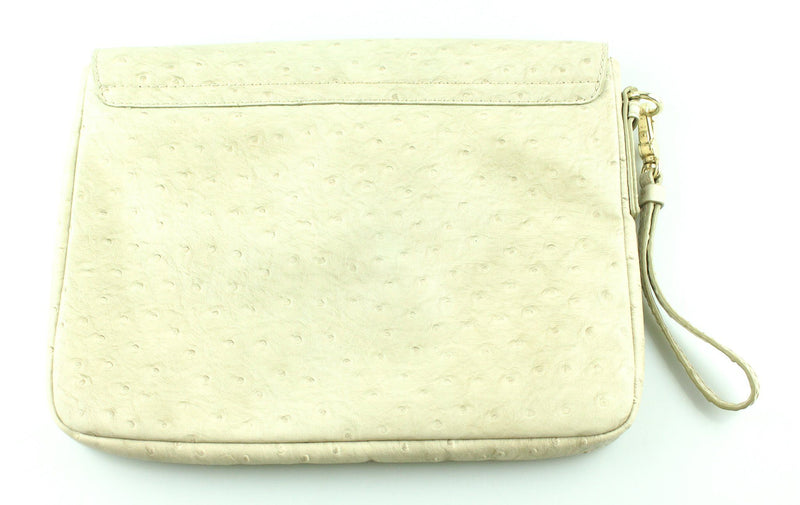 Marc By Marc Jacobs Cream Faux Ostrich Clutch