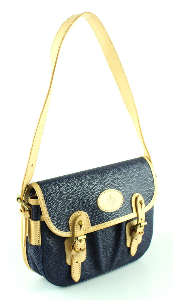 Mulberry Scotchgrain Blue And Beige Leather Satchel