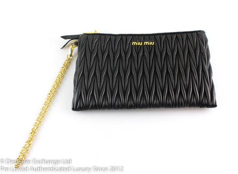 Miu Miu Matelasse Black Pochette With Chain