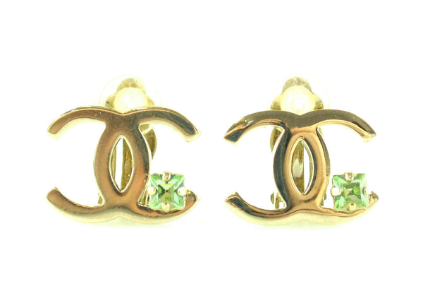 Chanel 2005P CC Goldtone Clip On earrings With Green Stone