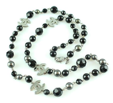 Chanel 09V Black Bead And Gunmetal Pearl Single Strand Necklace