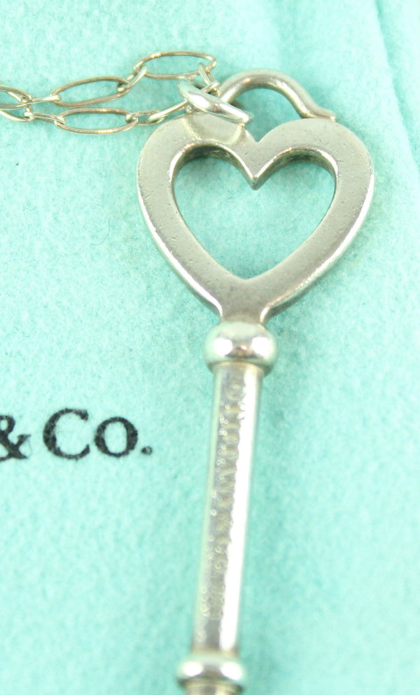 Tiffany & Co Large Sterling Silver Key Pendant On Vintage Tiffany Link Chain