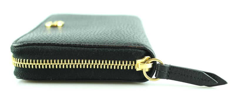 Gucci Black Pebbled Leather GG Zip Around Wallet