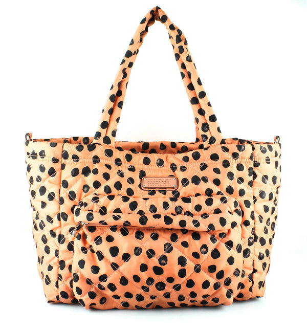 Marc By Marc Jacobs Workwear Quilted Nylon Padded Coral Polka Dot Tote