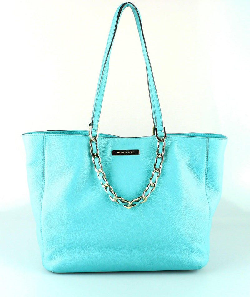 Michael Kors Blue Leather Chain Handle Tote GH (2)