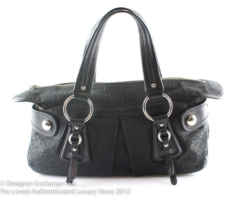 DKNY Monogram Canvas/Black Leather Shoulder Bag SH