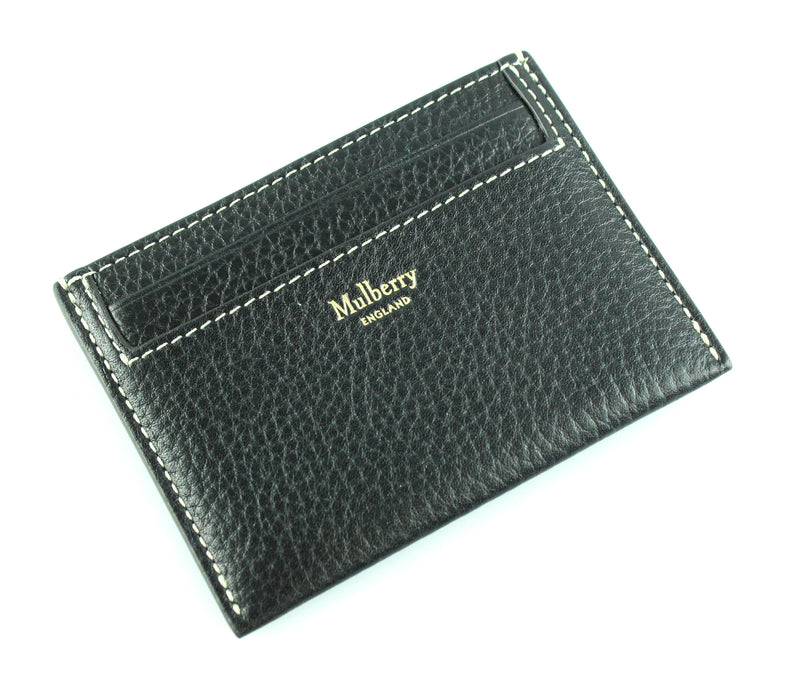 Mulberry Black Card Holder With White Stitch