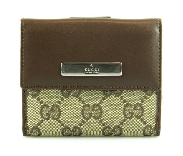 353c9031210 Gucci GG Brown Leather And Canvas Compact Wallet – Designer Exchange Ltd