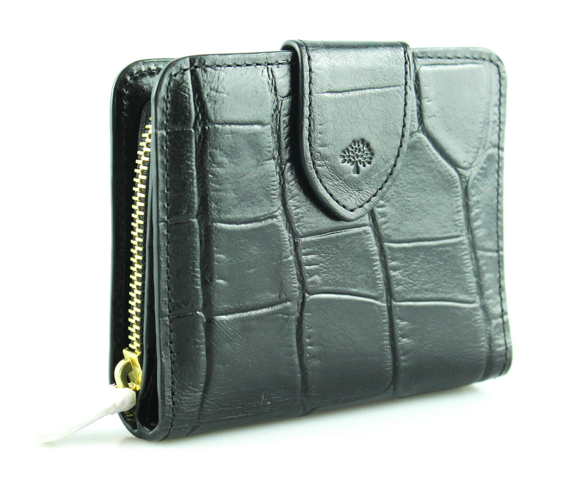 Mulberry  Black Croc Zip Around Compact Wallet