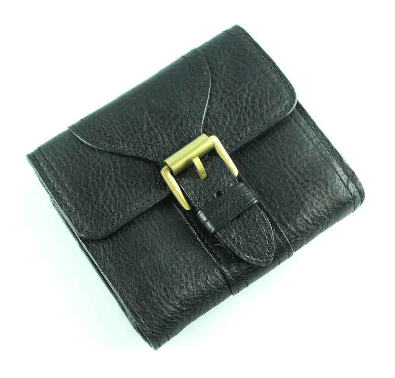 Mulberry Vintage Black Alana Compact Wallet with Brass Buckle