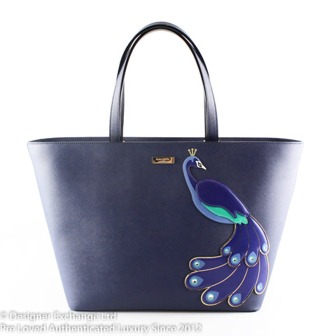 Kate Spade Full Plume Jules Peacock Shopper Zip Top Navy