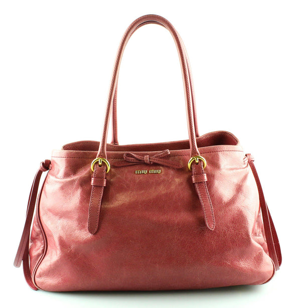 Miu Miu Pink Leather Bow Tote