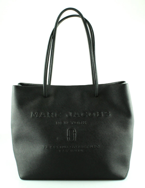 Marc Jacobs Logo Black Textured Leather Tote