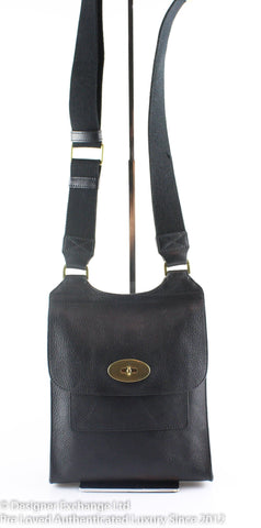 Mulberry Small Antony Messenger Black Brass Hardware