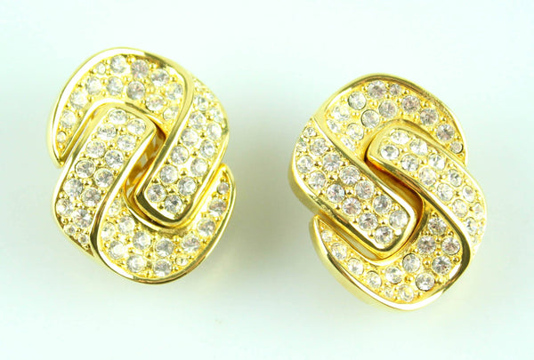 Dior Vintage Clip Earrings Knotted With Stones