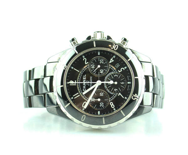 Chanel J12 Automatic Chronograph 38mm Black Ceramic H1996 (2009) Unisex