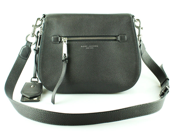 Marc Jacobs Grey Leather Large Recruit Saddle Bag SH