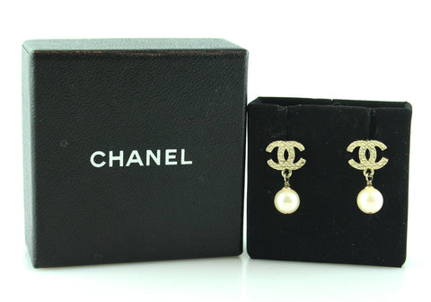Chanel Gold Tone CC/Pearl Earrings 2012