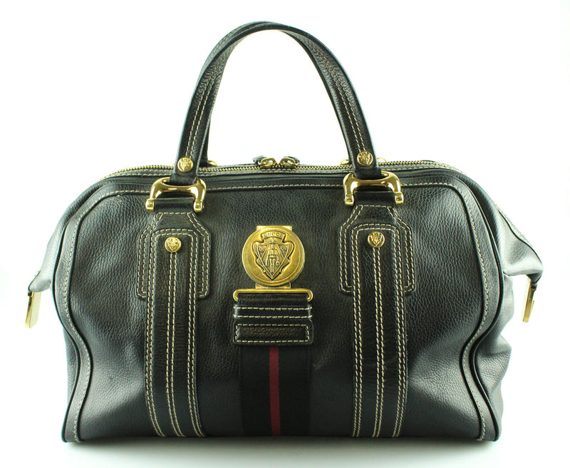Gucci Black Leather Large Aviatrix Boston Bag GH