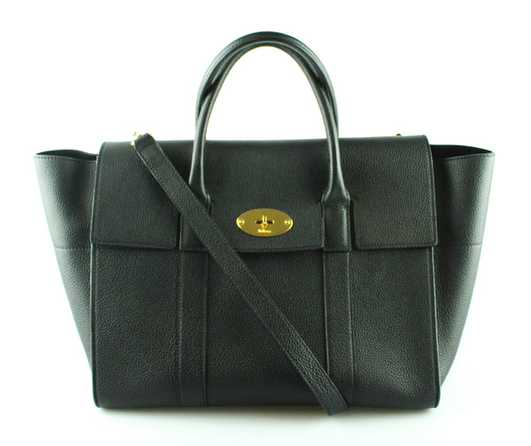 Mulberry Bayswater With Strap Small Classic Grain Leather Black
