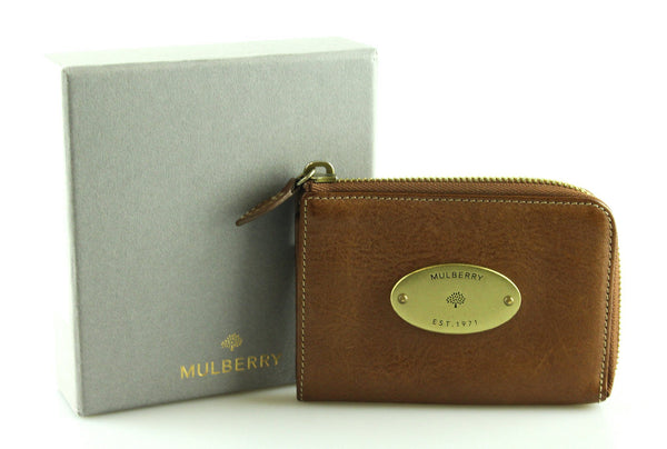 Mulberry Oak Oval Plate 3/4 Zip Coin/Card Wallet