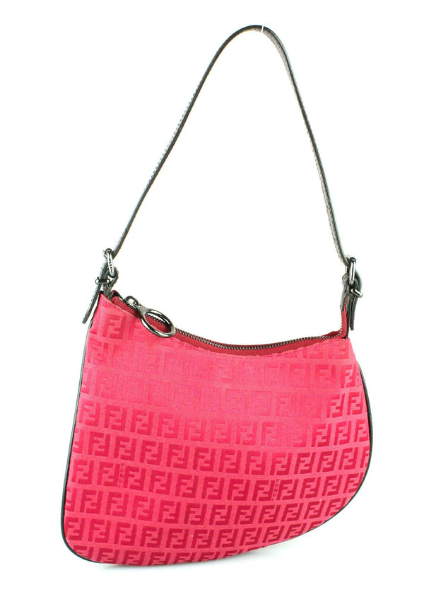 Fendi Rose Red Monogram Oyster Shoulder Bag