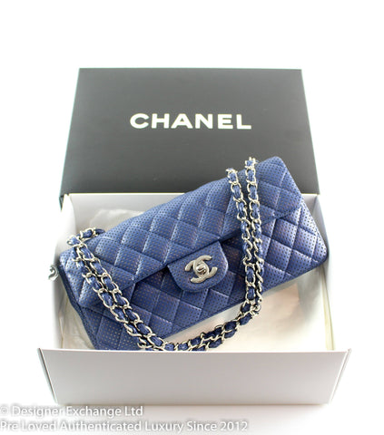 Chanel Navy Perforated East West Small Single Flap 2006/08
