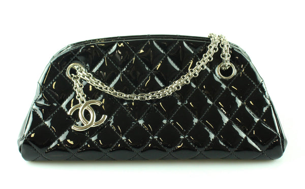 Chanel 2010 Small Black patent Mademoiselle Evening Bag Silver Hardware