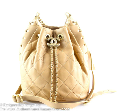 Chanel Beige Calfskin Platted Drawstring Bag Runway Sample 2018