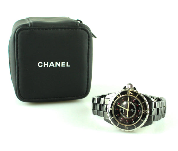 Chanel Quartz J12 33mm Black Ceramic Ruby Watch