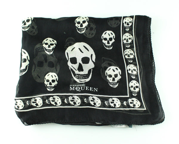 Alexander McQueen Black And White Skull Scarf Silk *2*