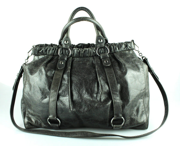 Miu Miu Grafite Leather Lux Calf Shopping Tote