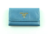 Prada Marine Blue Saffiano Key Holder (6 Keys) GH