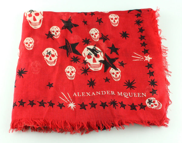Alexander McQueen Red Silk/Modal Skull and Star Scarf
