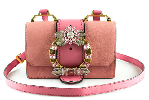 Miu Miu Pink Miu Lady Madras Leather Cross Body