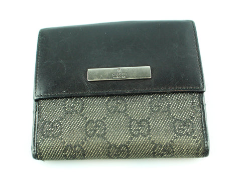 6fa032485a0 Gucci GG Black Leather And Canvas Slim Wallet