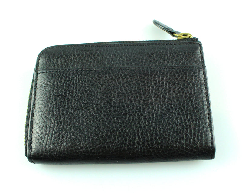 Mulberry Black 3/4 Zip Coin/Card Wallet