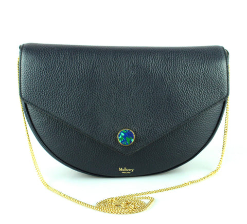 Mulberry Navy Small Classic Grain Brockwell Clutch GH