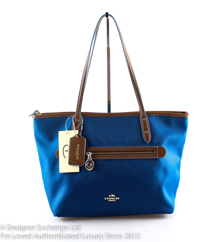 Coach Blue Nylon Sawyer Tote