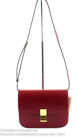 Celine Medium Red Calf Leather Classic Box Flap Bag