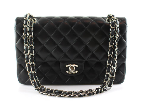 Chanel Black Lambskin Medium Double Flap SH 2014